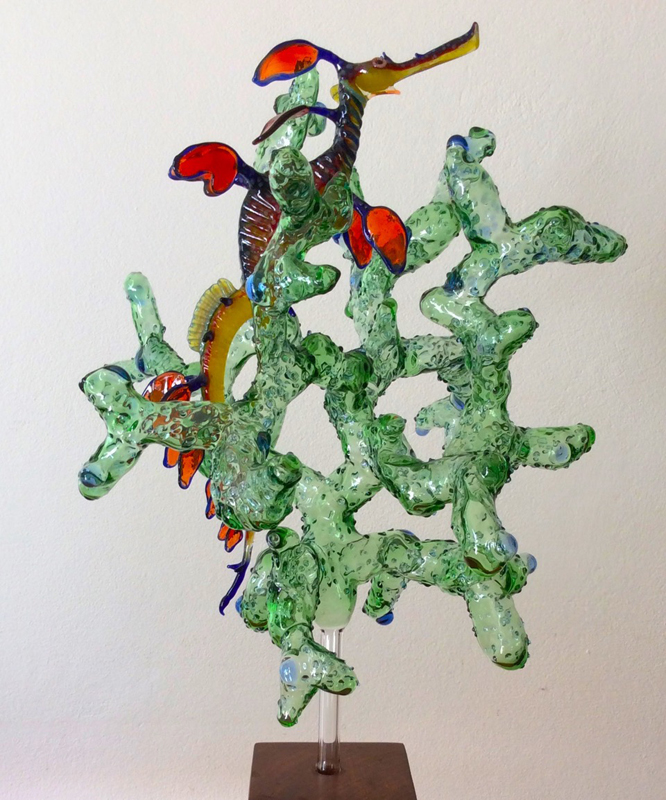 Coral Improvisation in Green with Weedy Sea Dragon