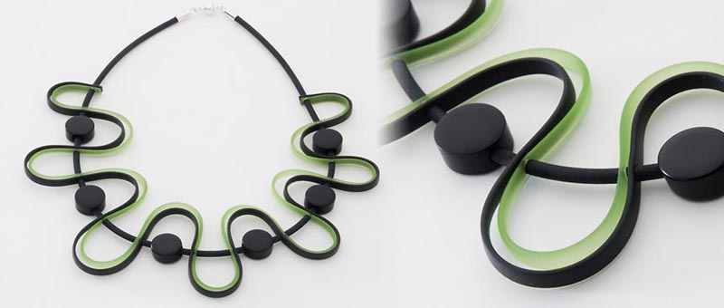 Green and Black Rubber Necklace
