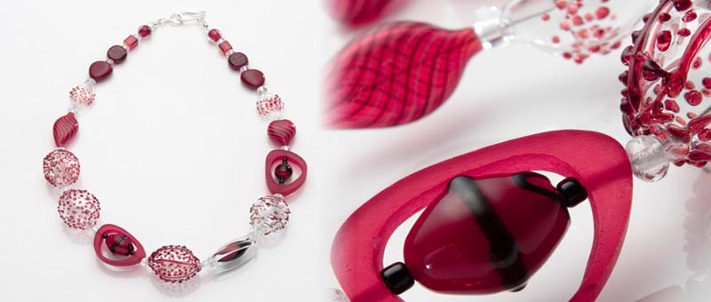 Pink and Red Rubber Necklace