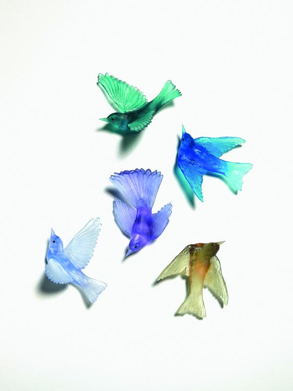 Cast glass birds